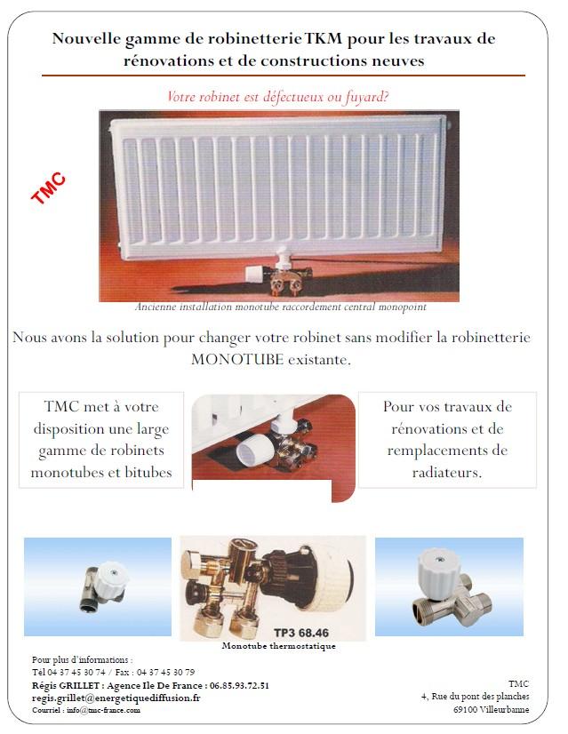 TKM ROBINET MONOTUBE DE RADIATEUR RENOVATION : TMC, MONTUBE RENOVATION